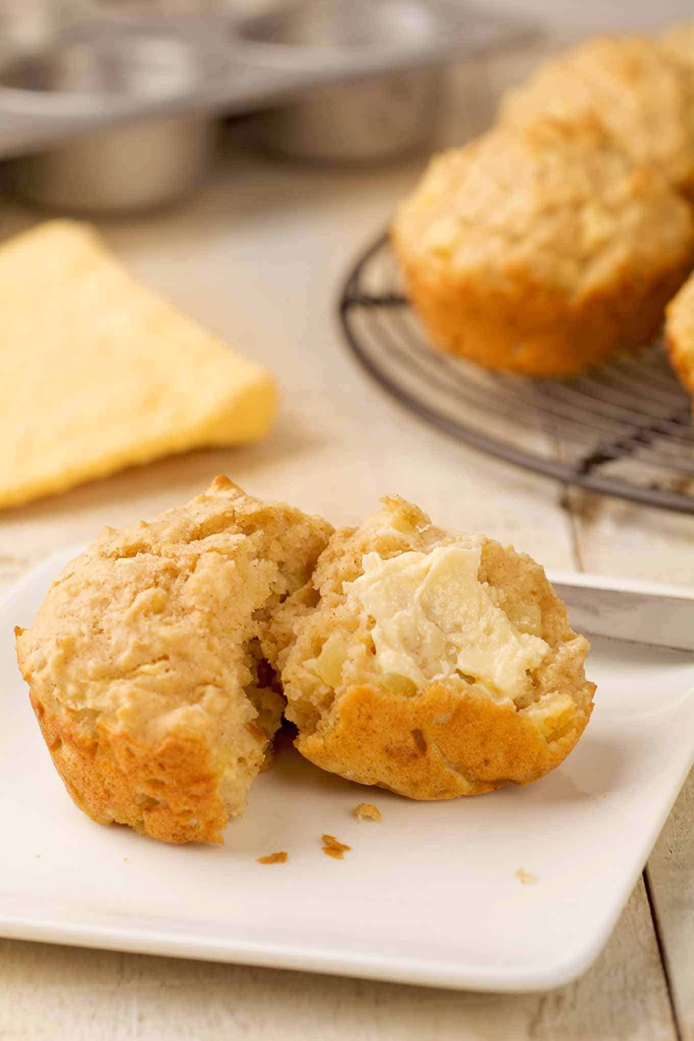 Apple oatmeal muffin on serving plate