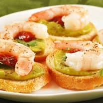Avocado and Shrimp Crostini