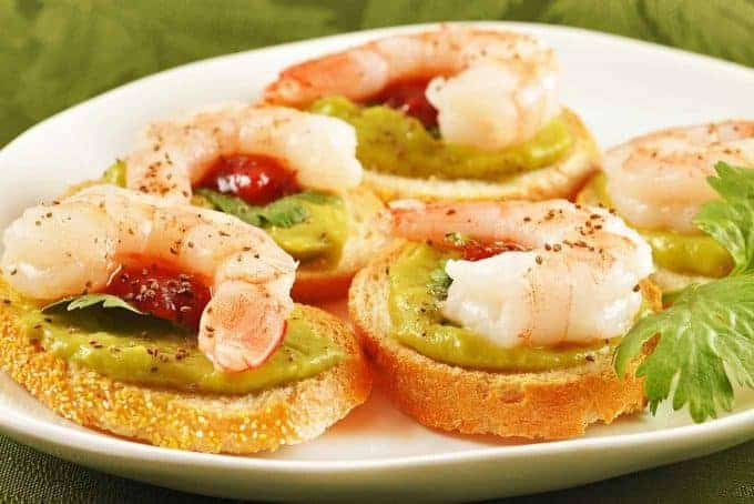 Avocado and Shrimp Crostini