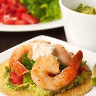 Avocado and Shrimp Tostadas
