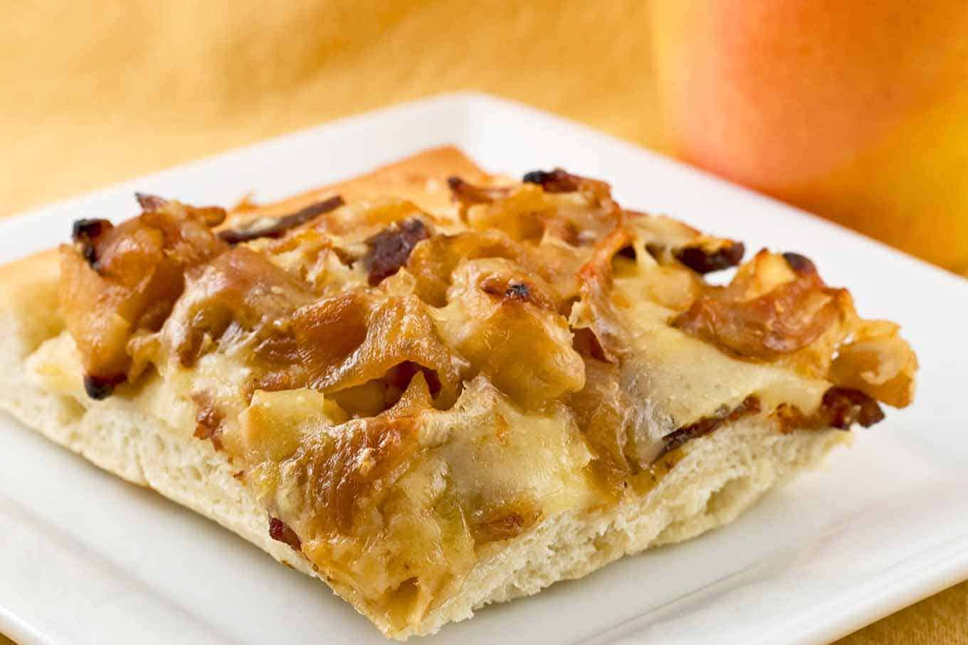 Bacon, Apple and Cider-Caramelized Onion Pizza Recipe ...