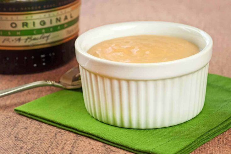 This is an easy recipe for butterscotch pudding that uses a little Bailey's Irish Cream liqueur in place of some of the milk for added flavor. #butterscotchpudding #baileysirishcream