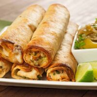 Baked Chicken Flautas with Chunky Tomatillo Sauce