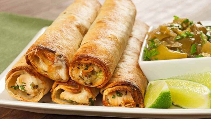 Baked Chicken Flautas With Chunky Tomatillo Sauce Recipe Mygourmetconnection