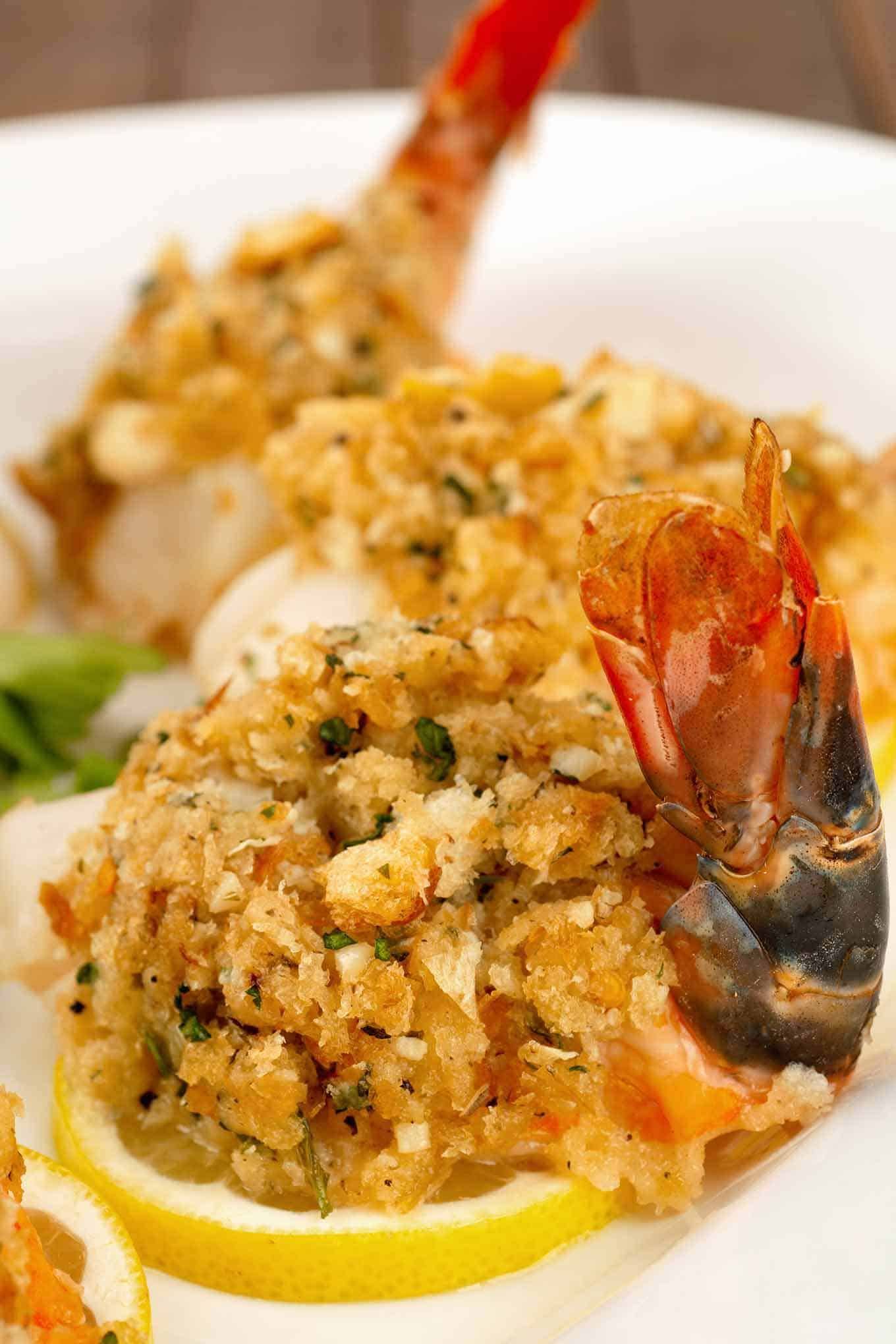 Colossal shrimp topped with a breadcrumb stuffing