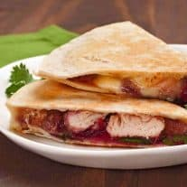 Baked Turkey, Cranberry and Brie Quesadillas