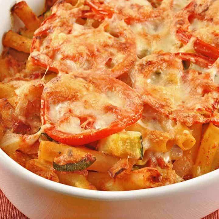 Baked Ziti with Zucchini, Artichokes and Pancetta