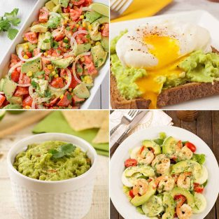 Collage of four avocado recipe photos