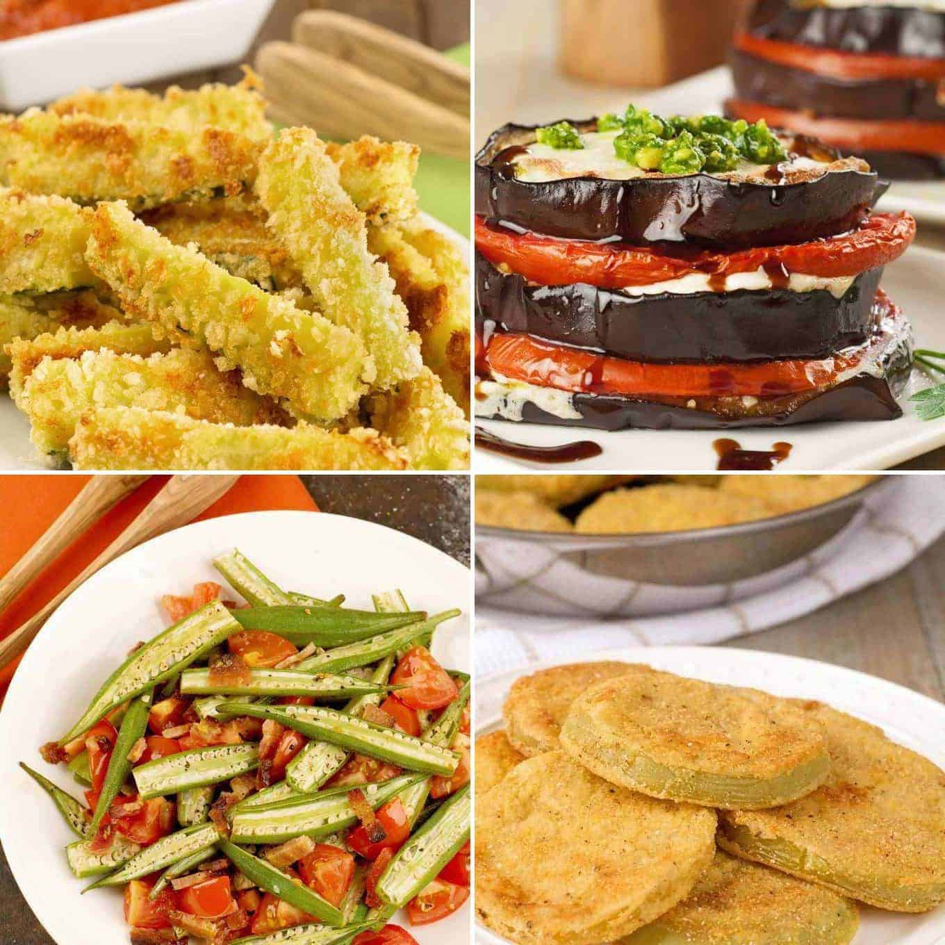 Collage of four summer veggie recipes: Oven Fried Zucchini Sticks, Eggplant, Tomato and Pesto Napoleons, Roasted Okra with Bacon and Tomatoes, and Fried Green Tomatoes
