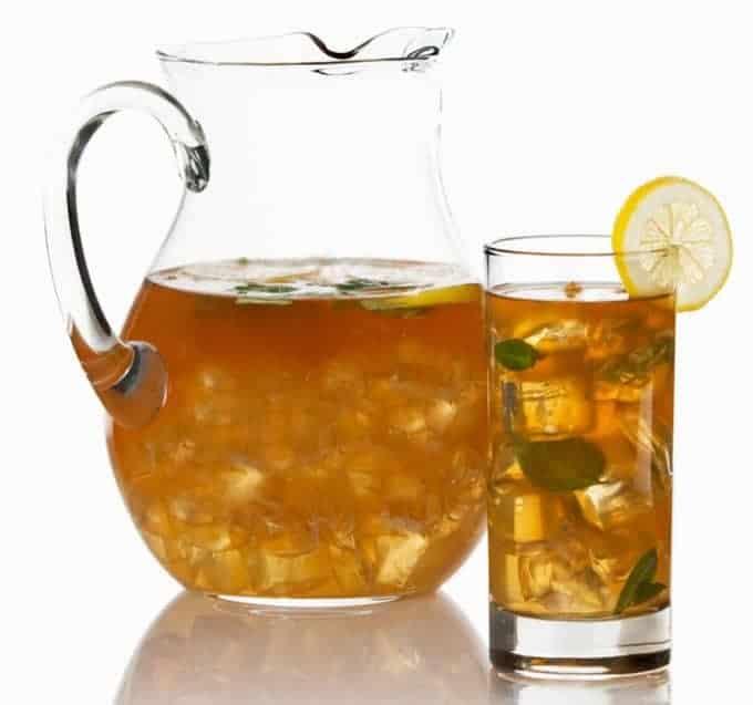 Pitcher of bourbon spiked iced tea.