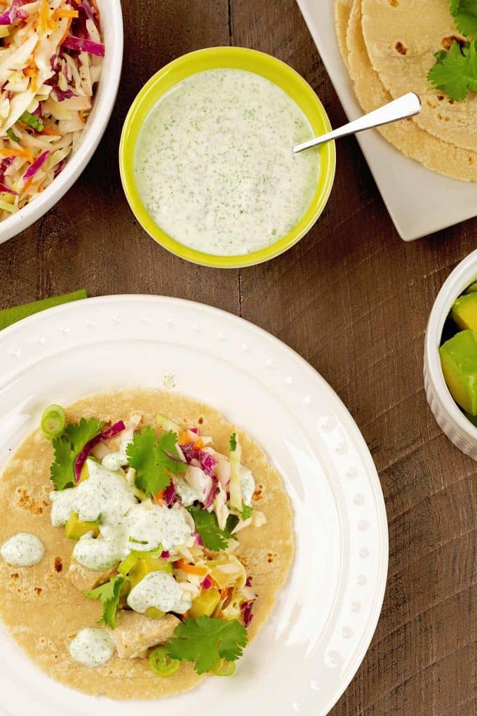 Fish Tacos with Cilantro Lime Crema