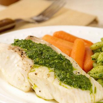 Broiled Halibut Fillets with Kale Pesto