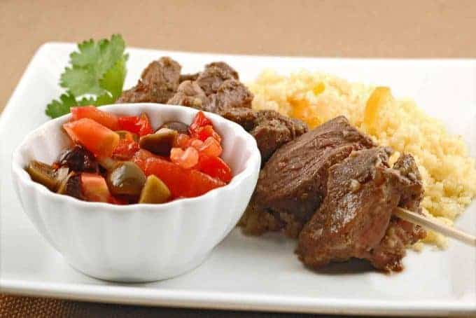 Broiled Lamb Kabobs with Chunky Tomato-Olive Salad