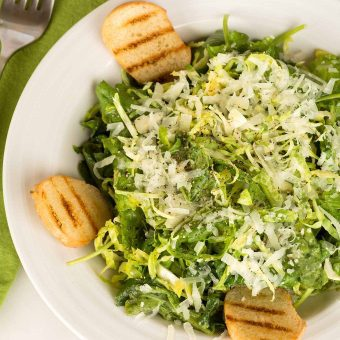 Brussels Sprouts and Kale Caesar Salad