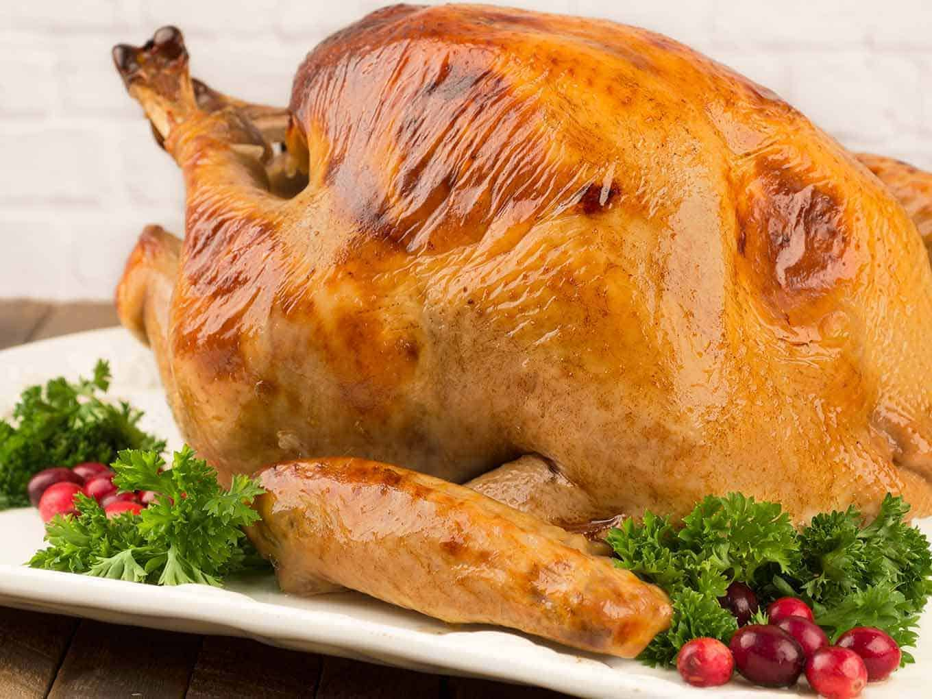 Uncarved buttermilk and honey brined turkey on a serving platter with garnish of fresh cranberries and parsley