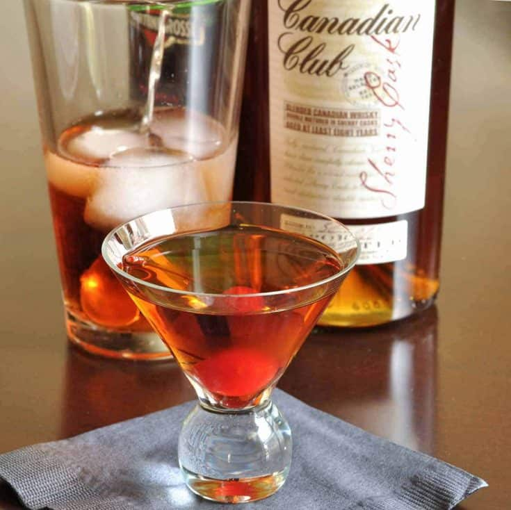 This variation on a classic Manhattan cocktail is made with Canadian Club Small Batch Sherry Cask Whisky. #cocktailrecipe #whiskeycocktails