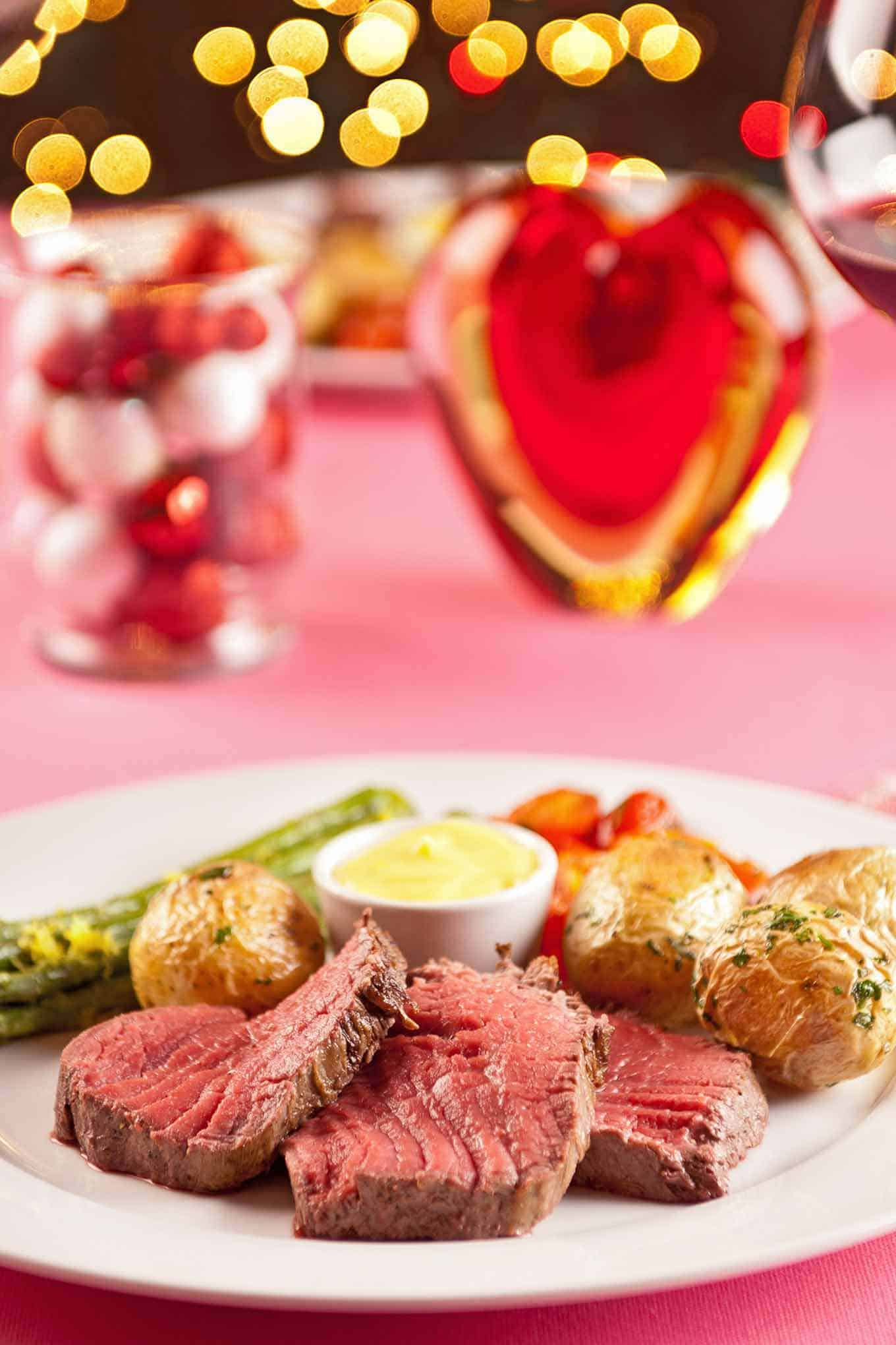 Valentine's Dinner Chateaubriand For Two with Decorations and Lights