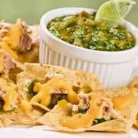 Cheesy Chicken Nachos with Roasted Salsa Verde