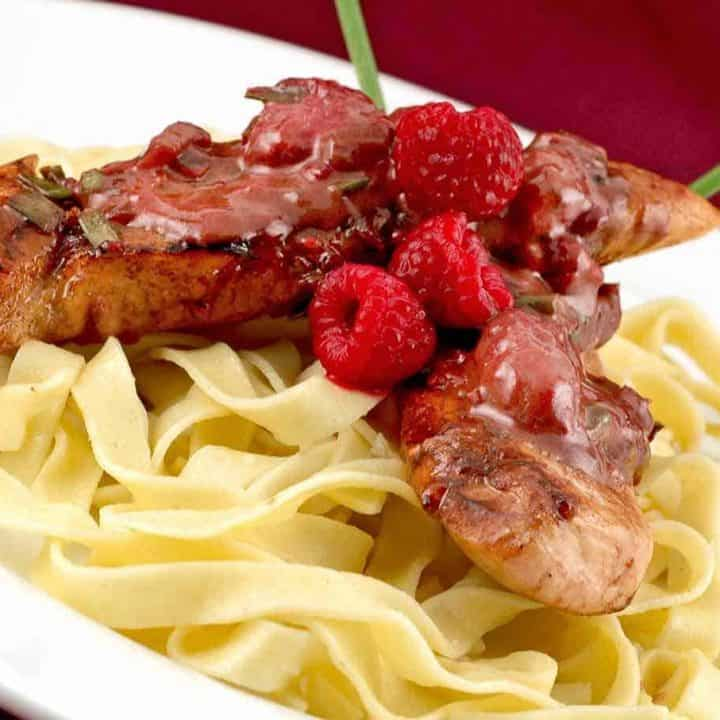 Chicken and Fettuccine with Raspberry Cream Sauce