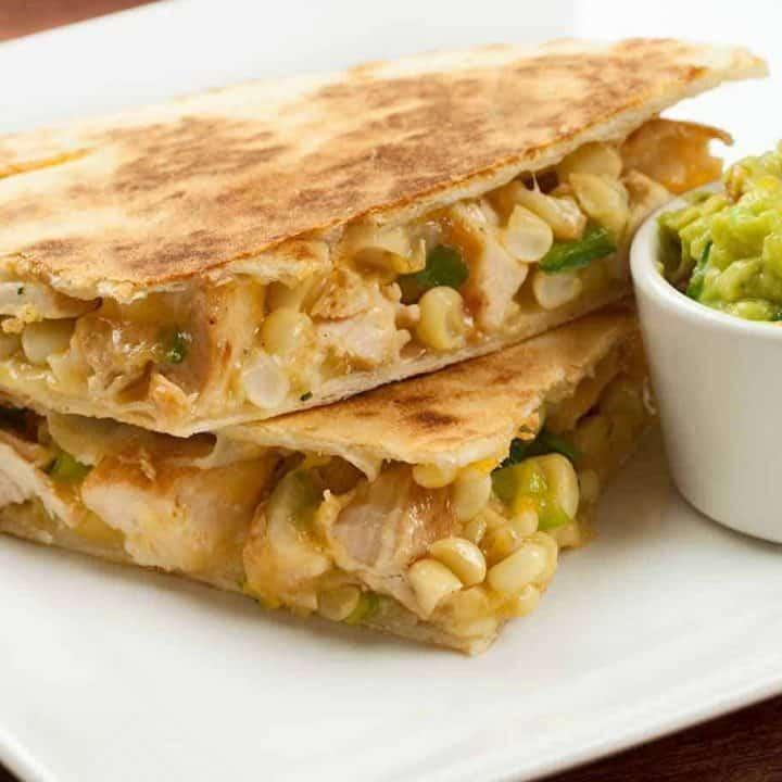 Chicken, Poblano and Corn Quesadillas
