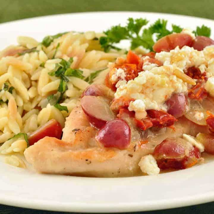 Chicken with Sun-Dried Tomatoes, Feta and Grapes