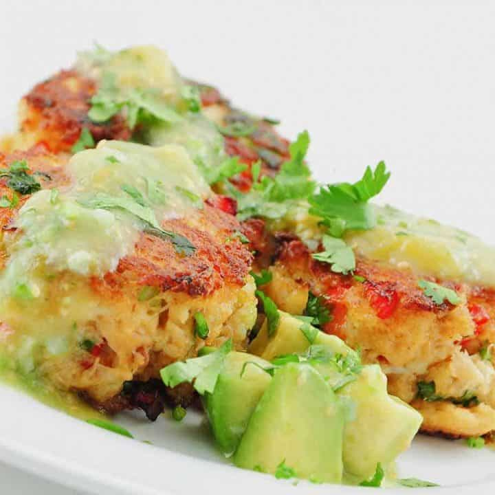 Chipotle Spiced Crab Cakes With Tomatillo-Avocado Sauce