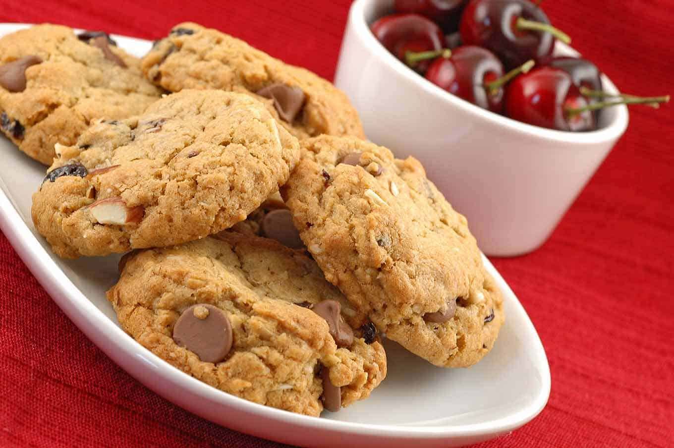 Chocolate Cherry Almond Oatmeal Cookies | MyGourmetConnection