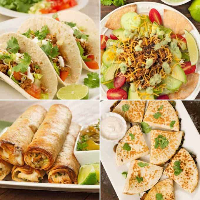 Collage of four recipes: Soft Turkey Tacos, Taco Salad, Baked Chicken Flautas, Spinach, Mushroom and Cheese Quesadillas