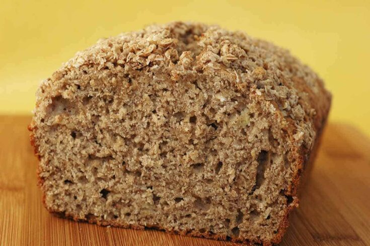 Adding oatmeal to banana bread boosts its nutritional value and gives it a hearty texture that makes it a nice light breakfast or mid-morning snack. #bananabread #oatmealbread