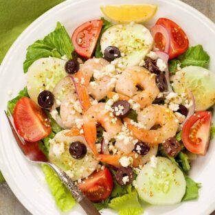 Classic Greek Salad with Shrimp
