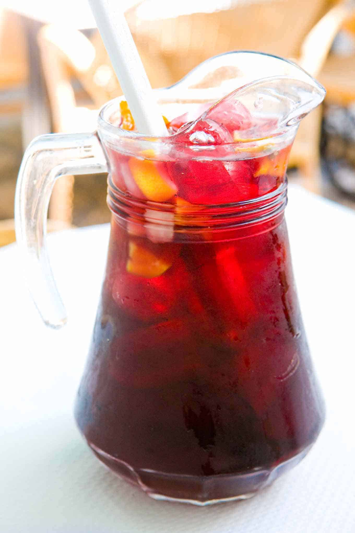 Pitcher of classic Spanish sangria