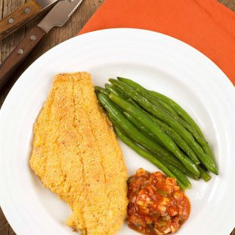Cornmeal Crusted Catfish with Creole Sauce