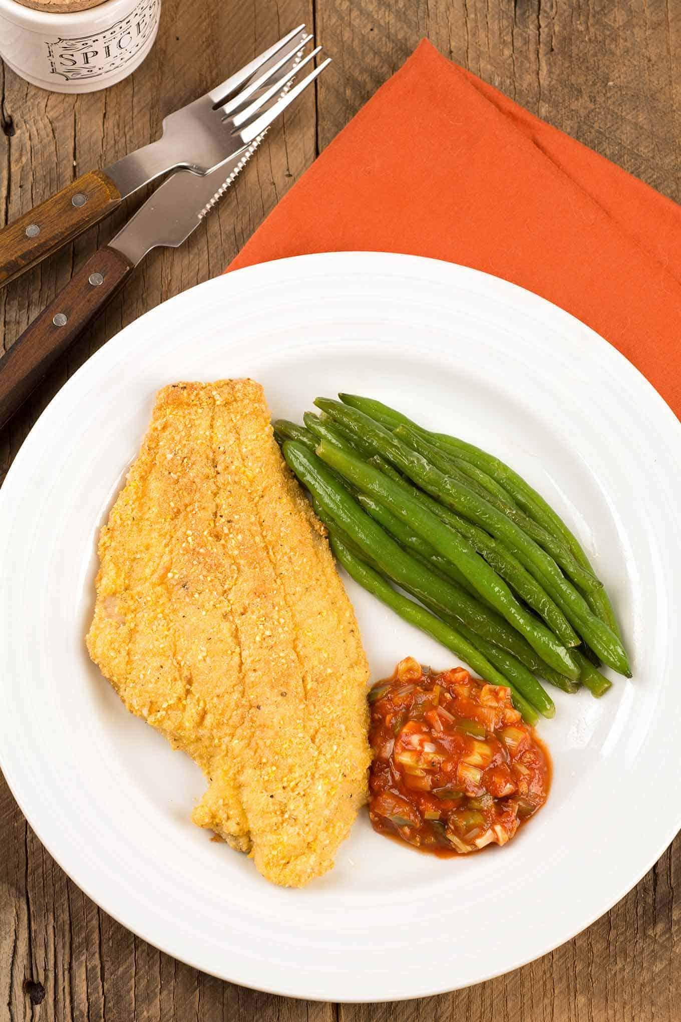 Cornmeal Crusted Catfish with Creole Sauce