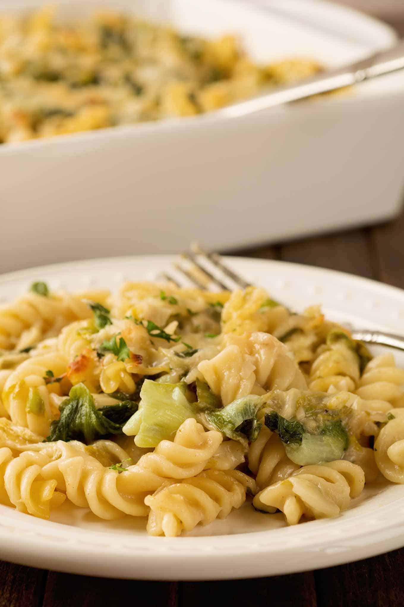 Creamy Parmesan Baked Pasta and Greens Recipe
