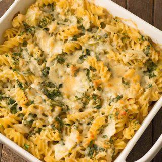 Creamy Parmesan Baked Pasta and Greens