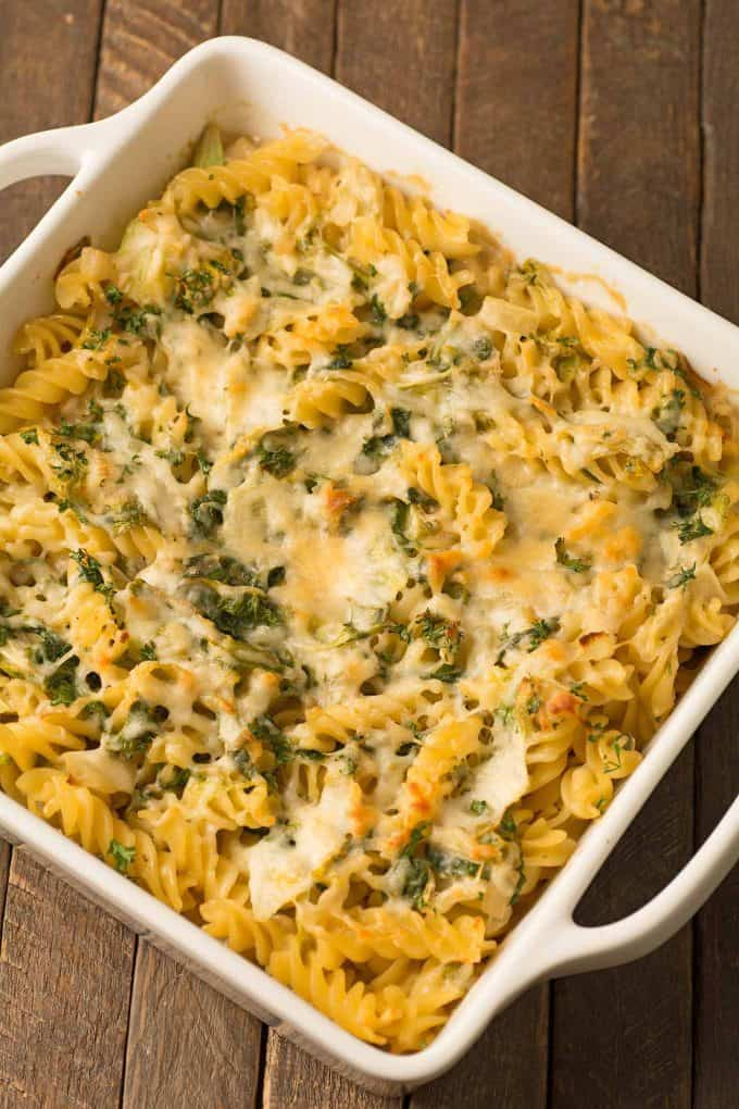 Creamy Parmesan Baked Pasta and Greens