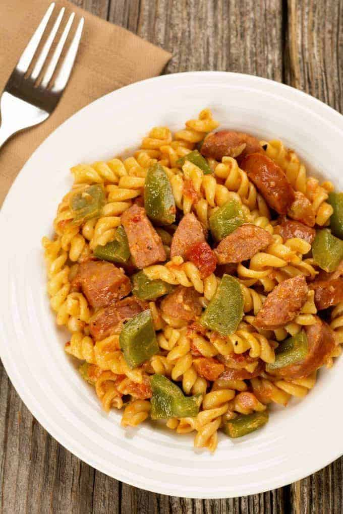Creamy Pasta with Smoked Sausage and Peppers