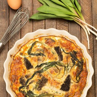 Crustless Quiche with Morel Mushrooms and Ramps