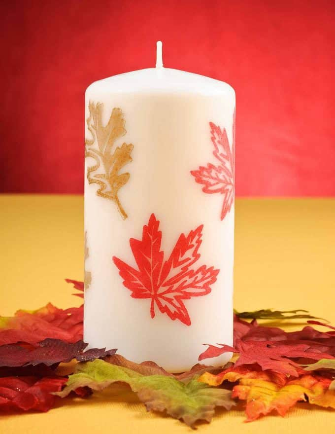DIY Table Decor Fall Leaf Candle
