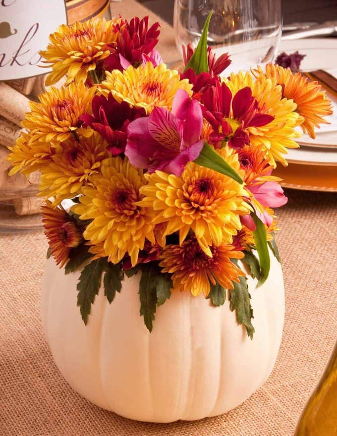 DIY Table Decor Thanksgiving Pumpkin Floral Centerpiece