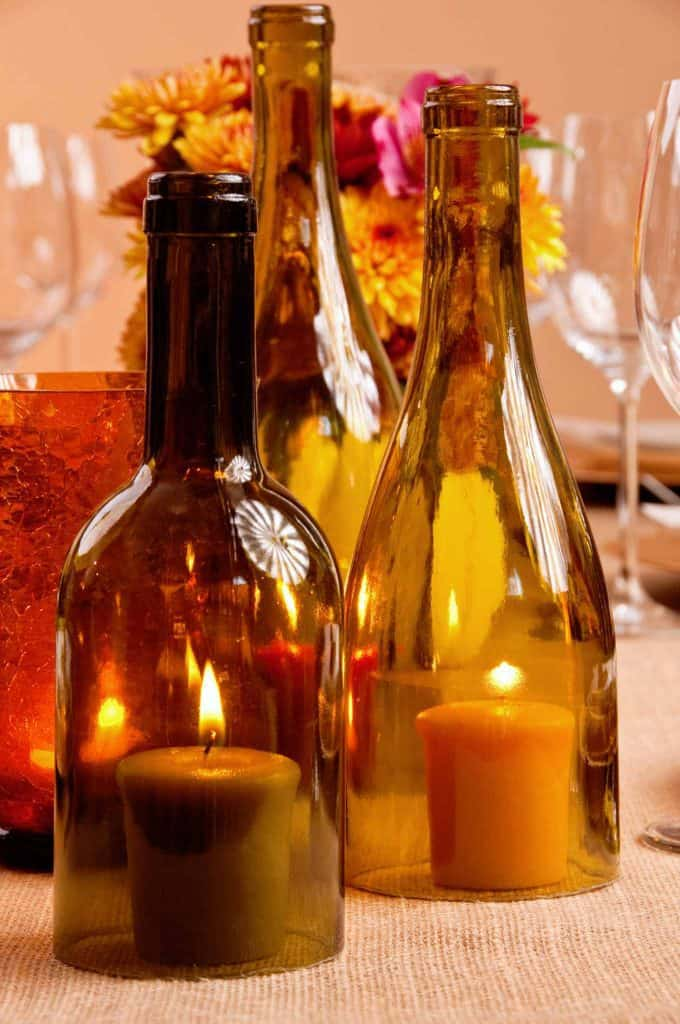 DIY Table Decor Thanksgiving Wine Bottle Candle Holders
