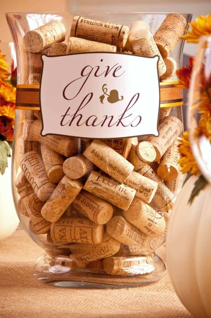 DIY Table Decor Thanksgiving Wine Cork Centerpiece