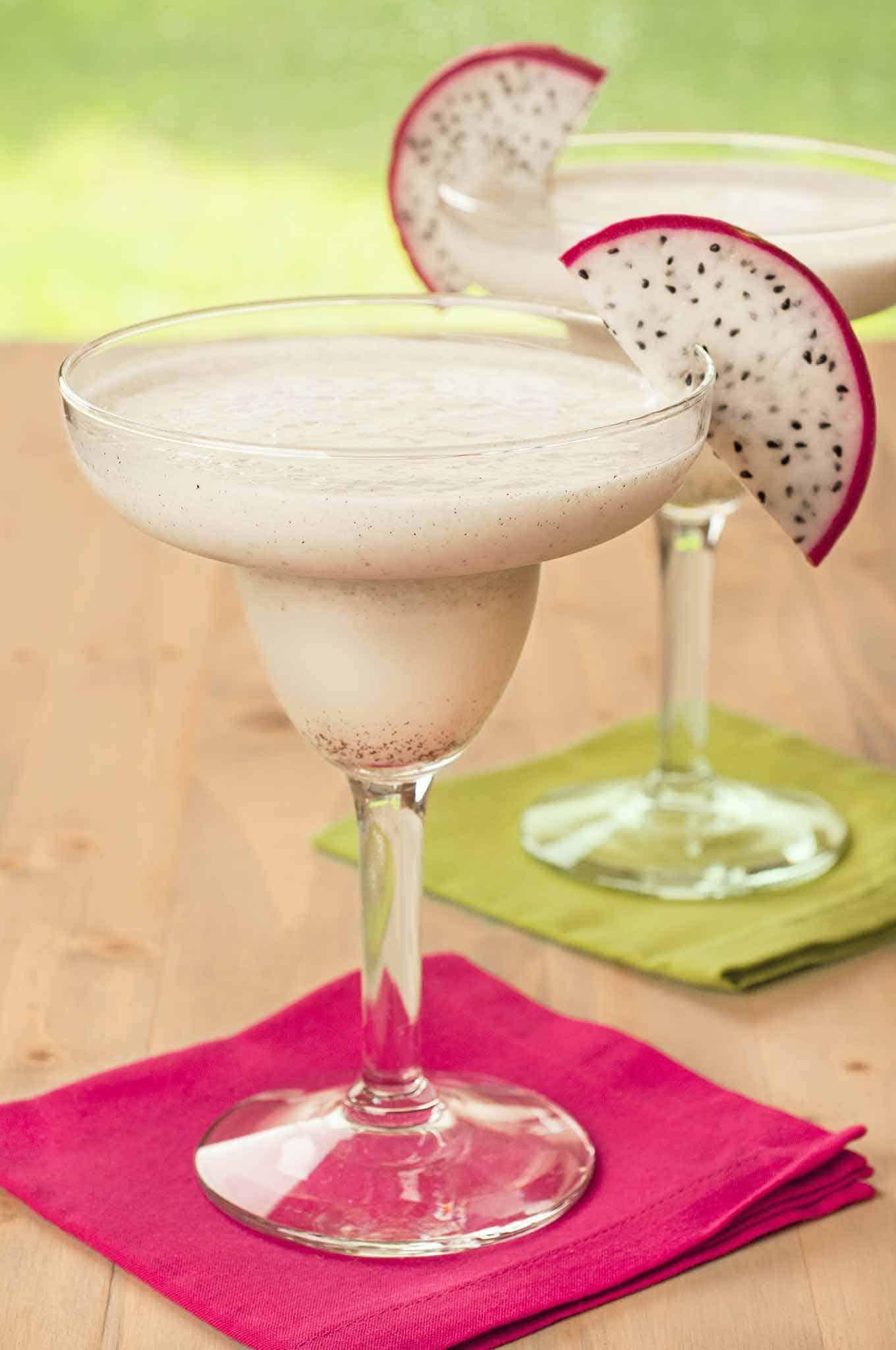 White Dragon Fruit Margarita with garnish