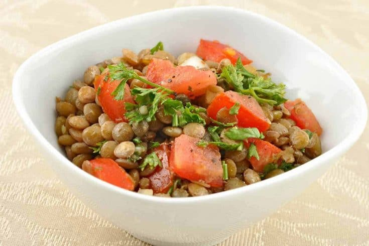 This lentil salad is easy to prepare and can be served as a side dish, or transformed into a main dish using our recipe variations. #lentils #lentilsalad #lentilrecipes