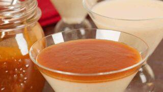 Eggnog Panna Cotta with Caramel-Rum Sauce
