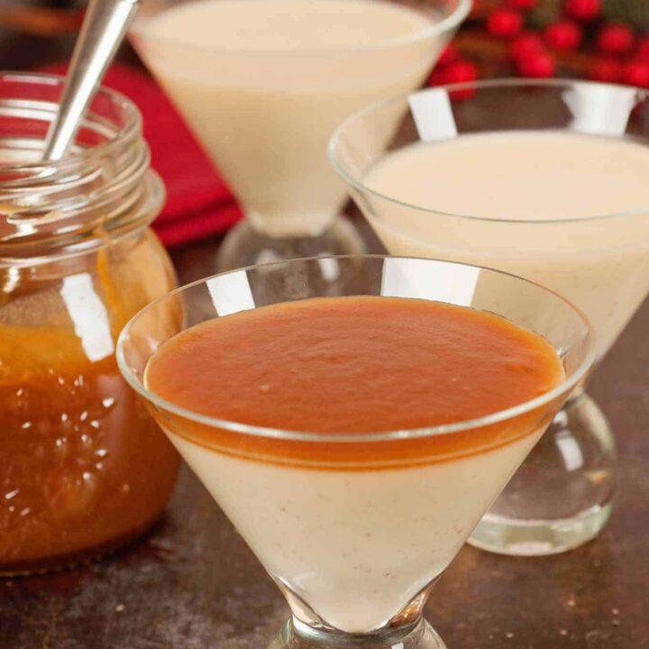 Eggnog Panna Cotta with Rum Caramel Sauce