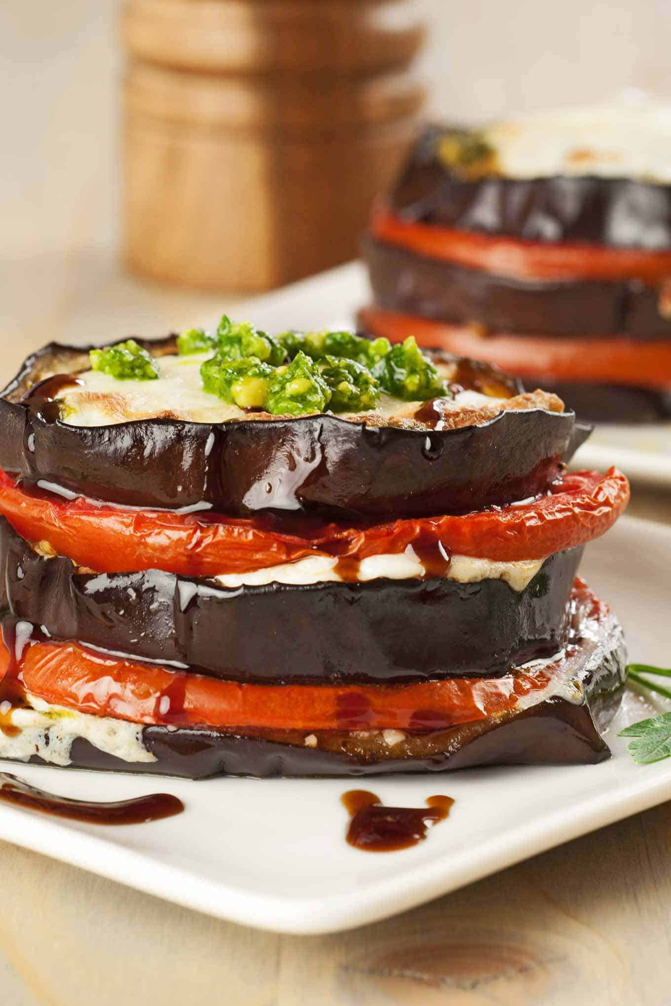 Eggplant, Tomato and Pesto Napoleons