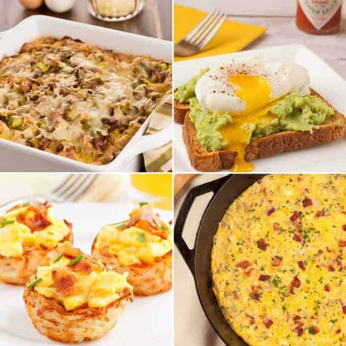 Collage of four recipes: Bacon, Egg and Leek Strata, Avocado Egg Toast, Scrambled Eggs in Potato Nests, Bacon and Cheese Frittata
