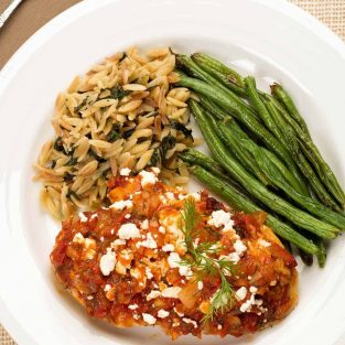 Feta Topped Chicken with Dill Tomato Sauce