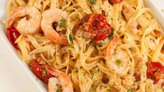 Fettuccine with Pancetta, Roasted Tomatoes and Shrimp